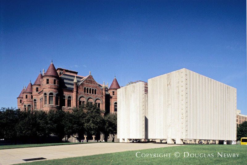 Kennedy Memorial Across Old Red Dallas County Courthouse