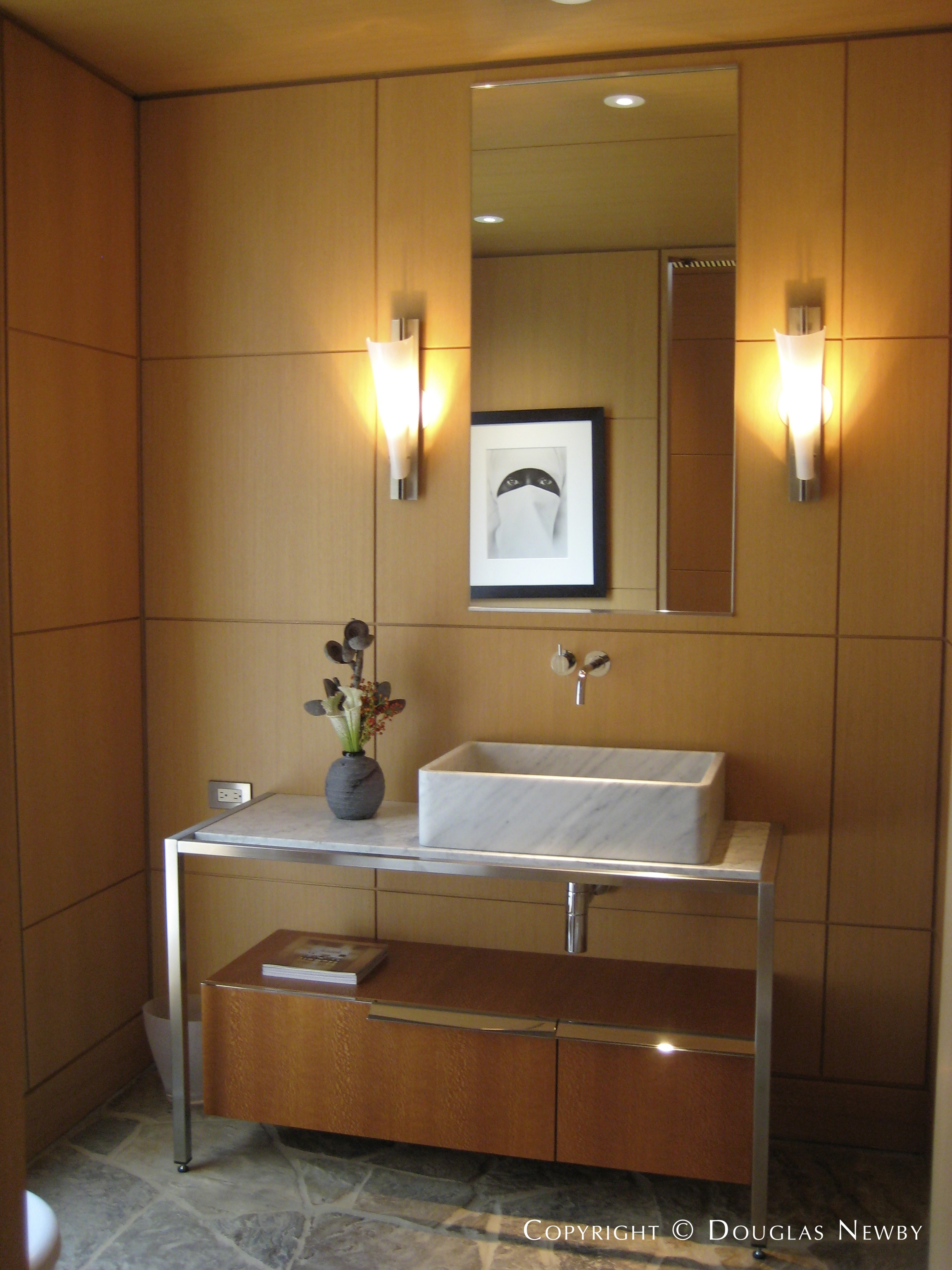 Paul Draper Powder Room in Frank Welch Designed Home