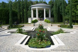 Formal classical garden and koi pond.