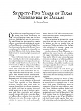 Seventy-Five Years of Texas Modernism in Dallas
