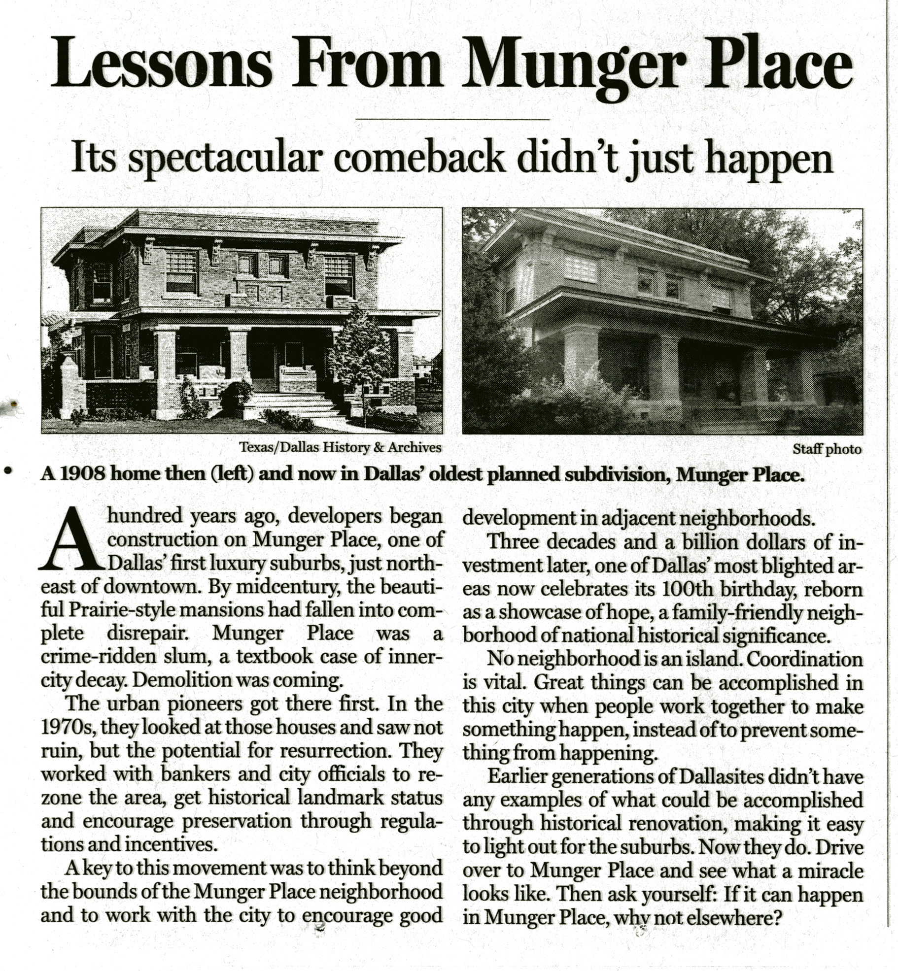 Lessons From Munger Place - Dallas Morning News