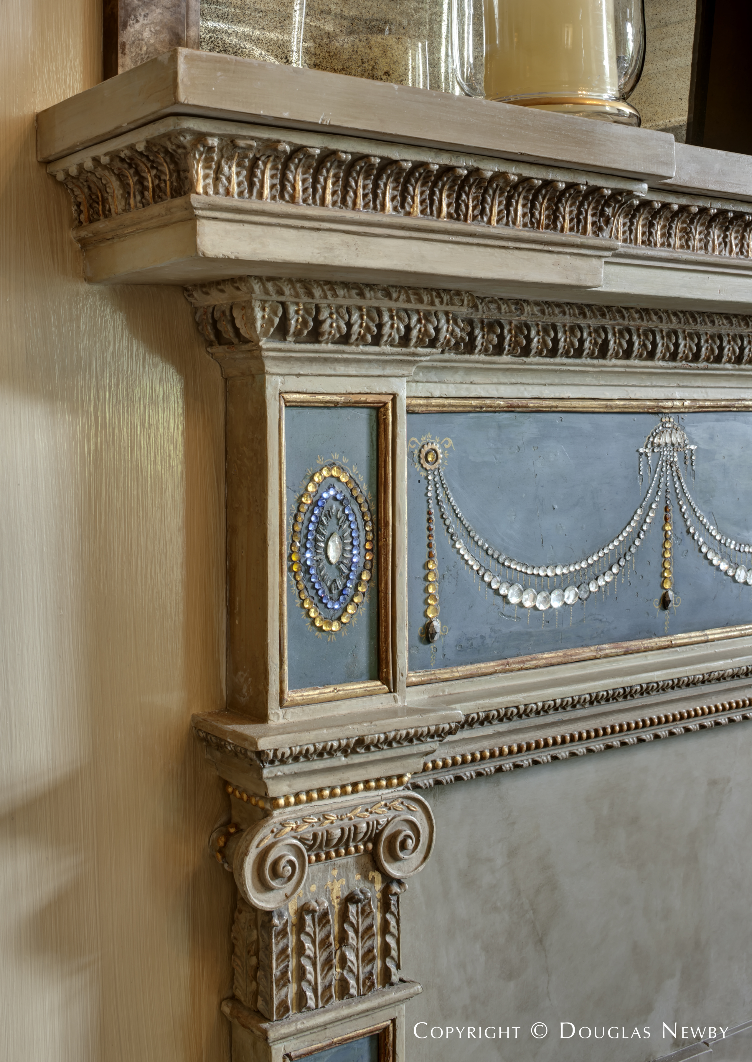Jewel Studded Mantel in the Crespi Hicks Estate Home