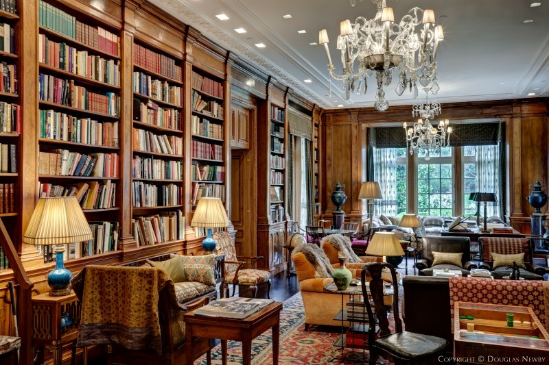 Library in the Crespi Hicks Estate Home For Sale