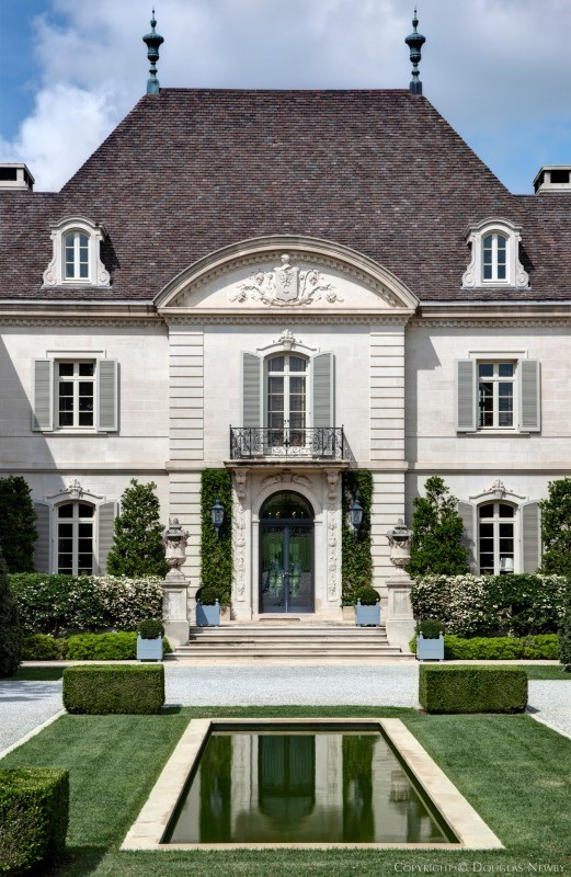 Front facade of the crespi hicks estate home designed by French country architecture residential