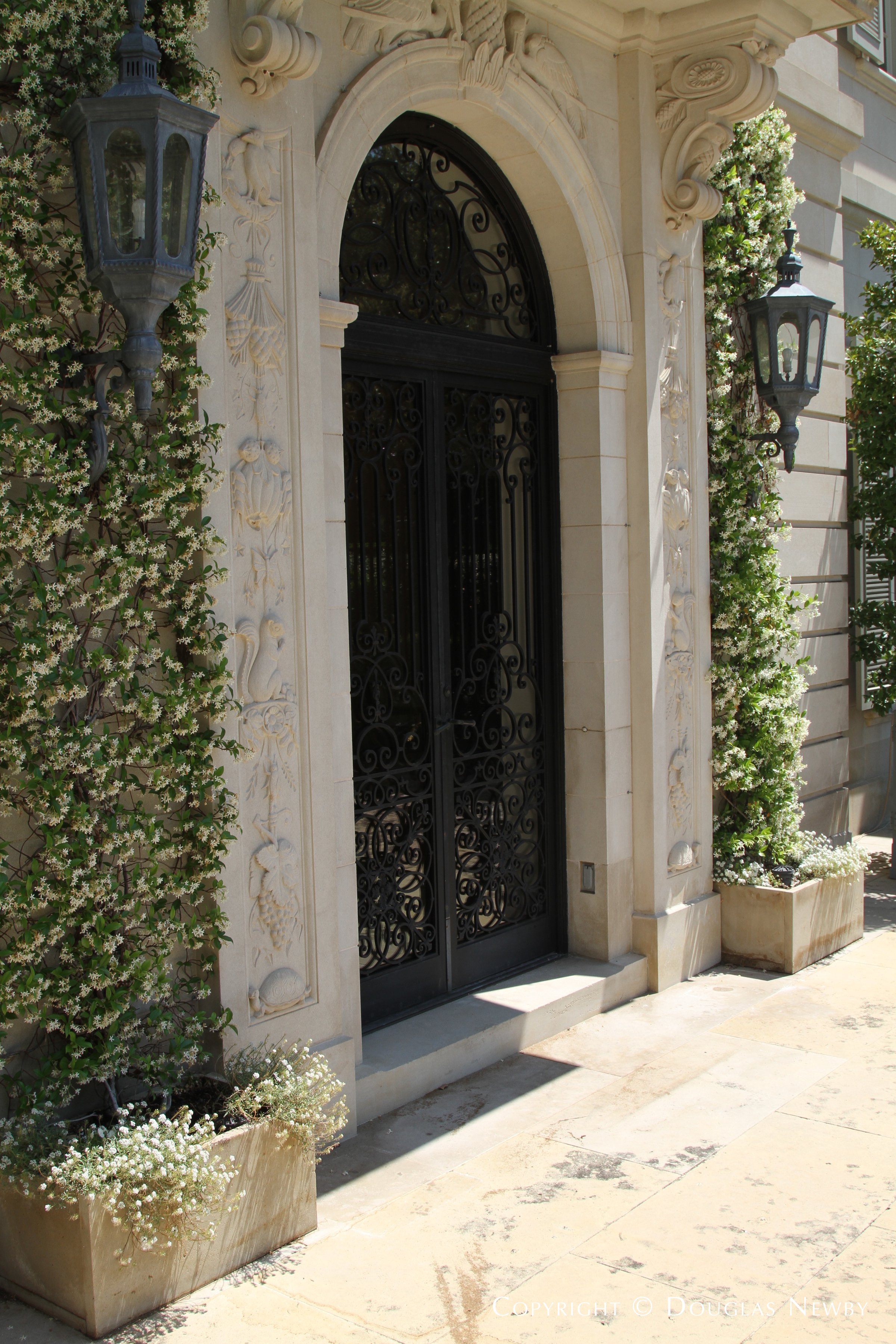 Carved Entrance of Crespi Hicks Estate Home
