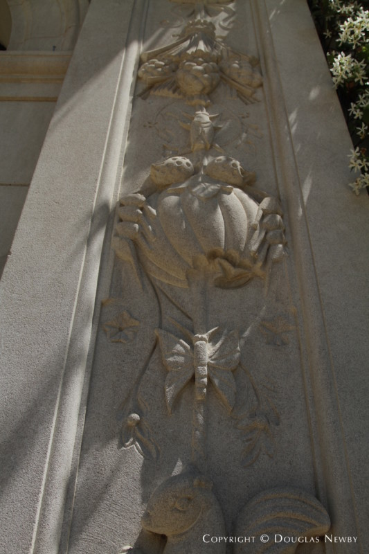 Stone Carvings by Front Door of Crespi Hicks Estate Home