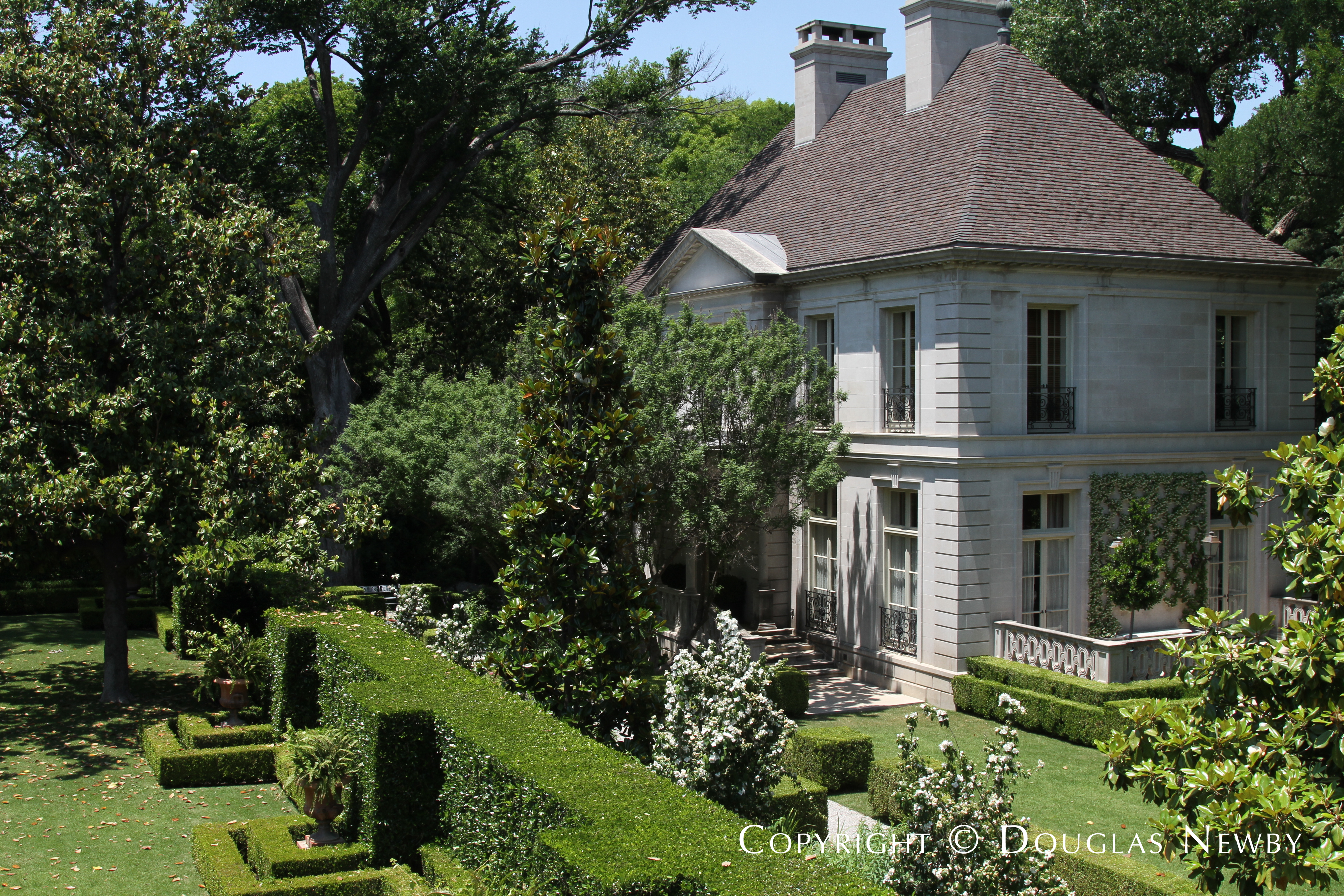 View of Architect Peter Marino Designed Guest House from Second Floor Terrace at Crespi Hicks Estate