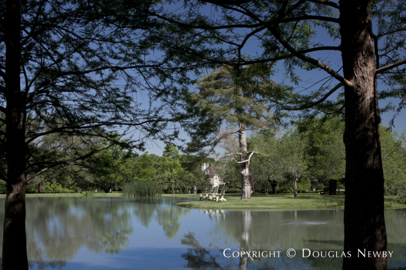 View of a Pond Through Shady Trees on the Crespi Hicks Estate Property