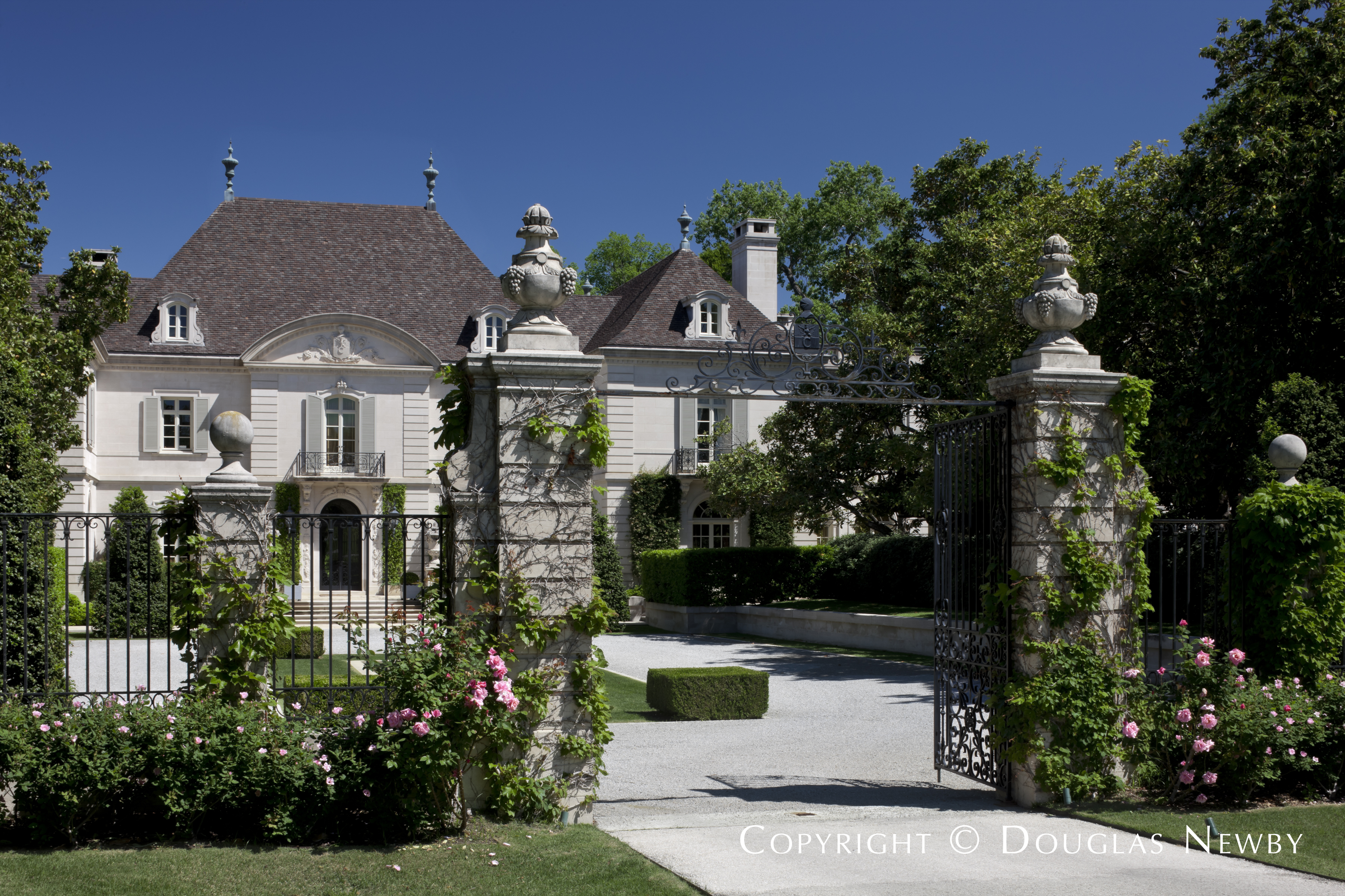 Front Entrance Adorned with Flowers and Vines of the Crespi Hicks Estate Home