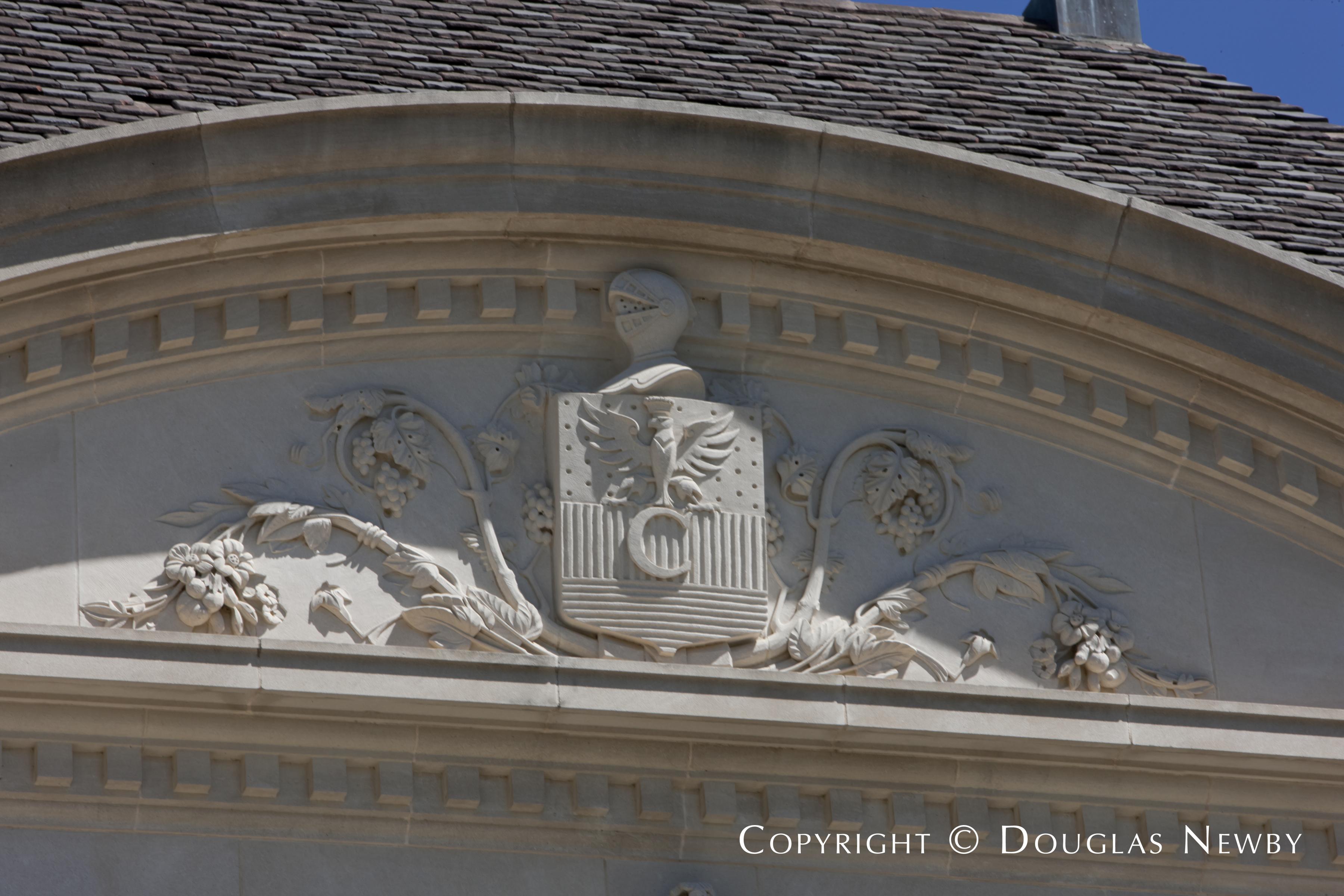 Crest Adorning the Front Facade of the Crespi Hicks Estate Home