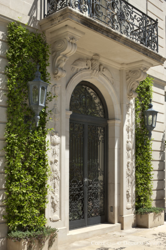 Carved Entrance of the Crespi Hicks Estate Home in Mayflower Estates