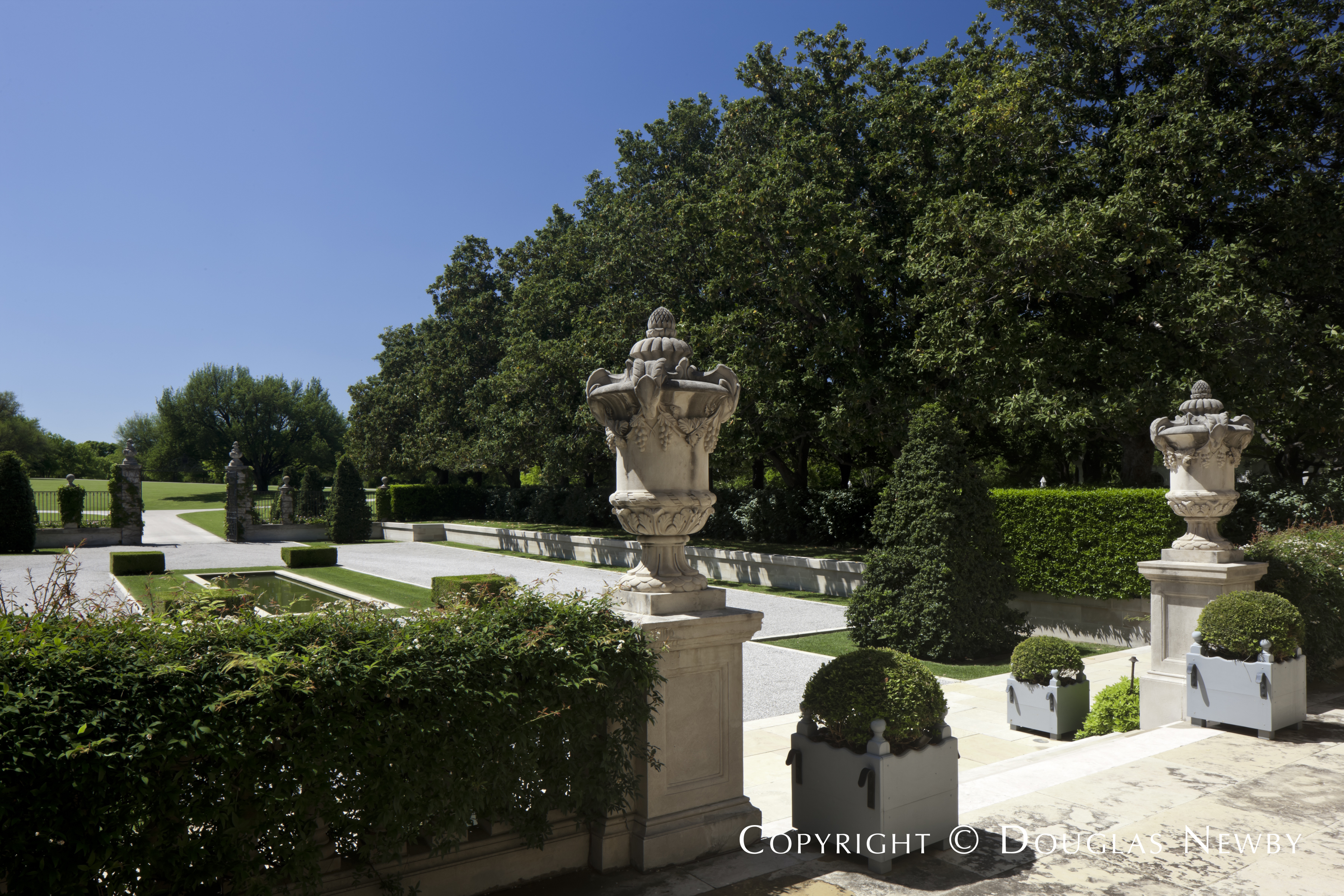 View of the Formal Motor Court from the Entrance to the Crespi Hicks Estate Home