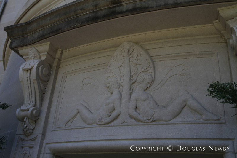 Stone Carving on the Exterior of the Crespi Hicks Estate Home