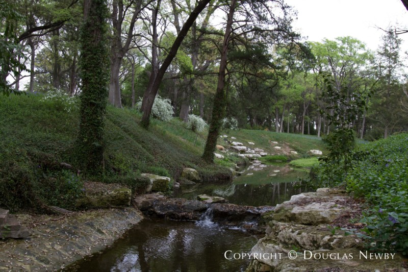 Creek Running Through Wilderness on Preston Hollow Estate Home
