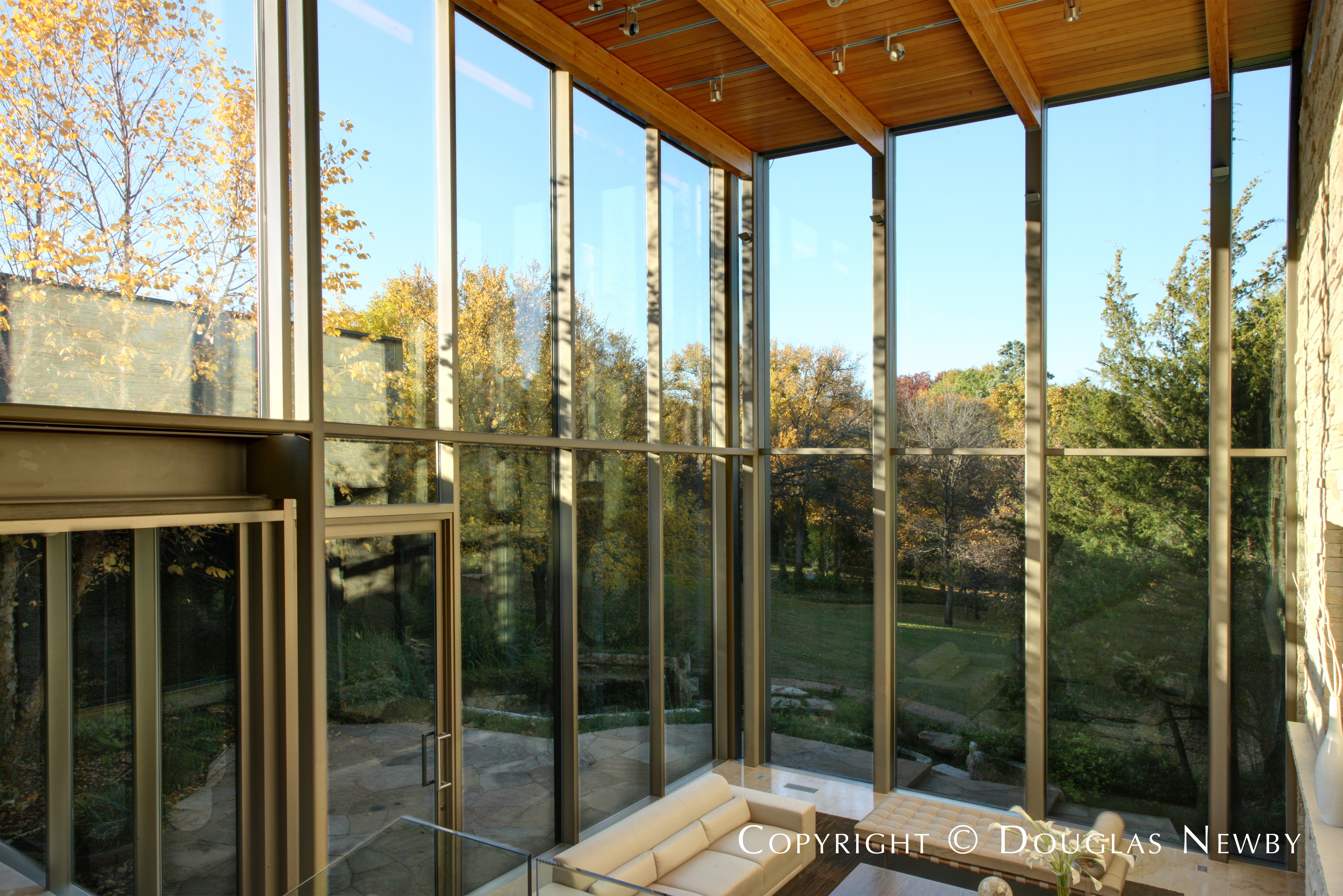 View of Garden From Glen Abbey Modern Home Living Room in Dallas