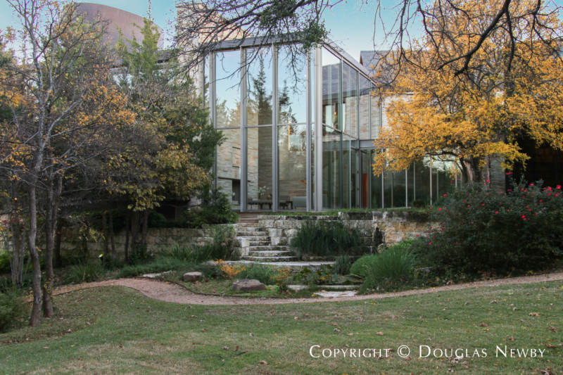Series of Steps, Streams, and Paths Traverses the Property of Glen Abbey Modern Home