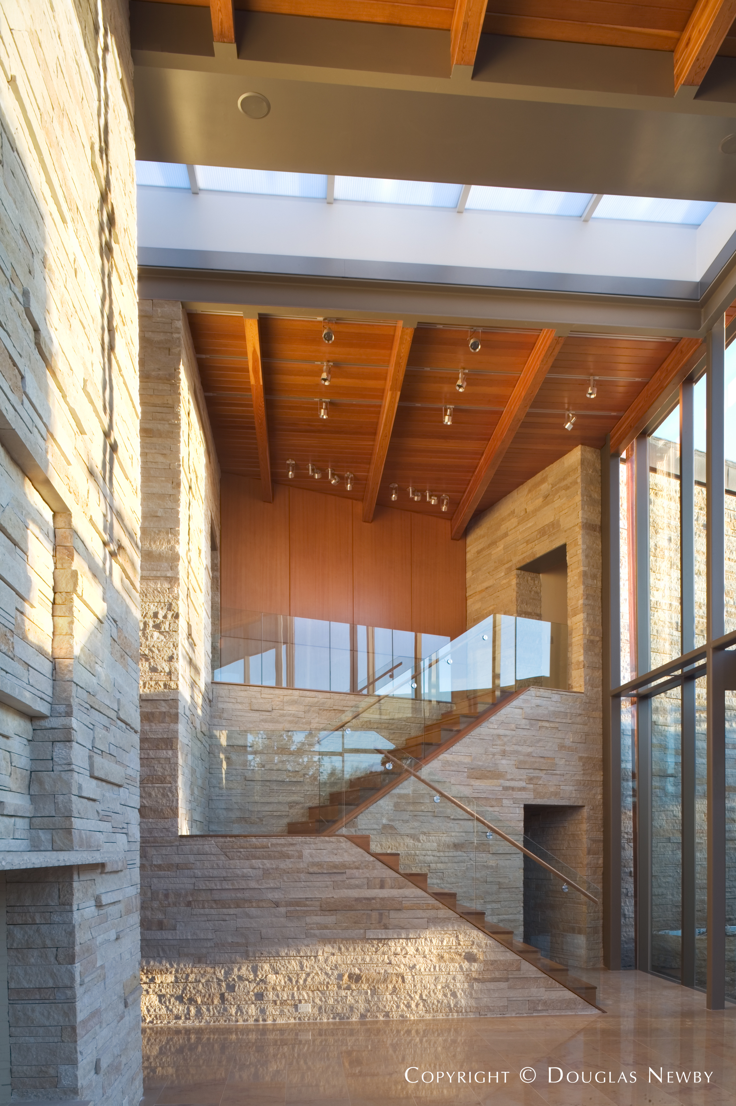 Stairway Beside Open Living Room in Glen Abbey Contemporary Home