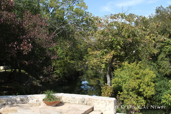 View of Creek from Porch on Olgesby Greene Designed Estate Home in Glen Abbey