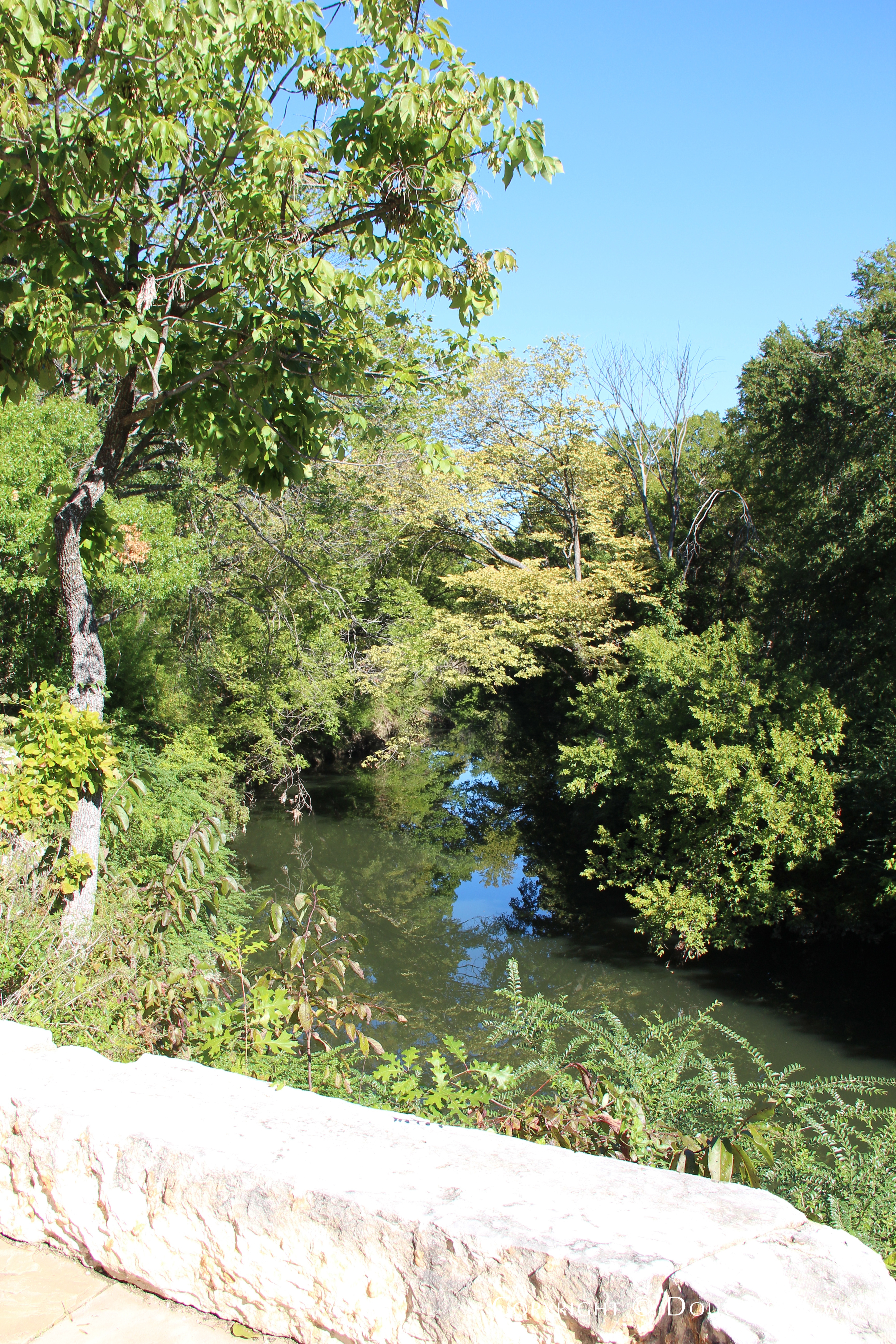 Stone Terraced Paths Overlook White Rock Creek in Glen Abbey