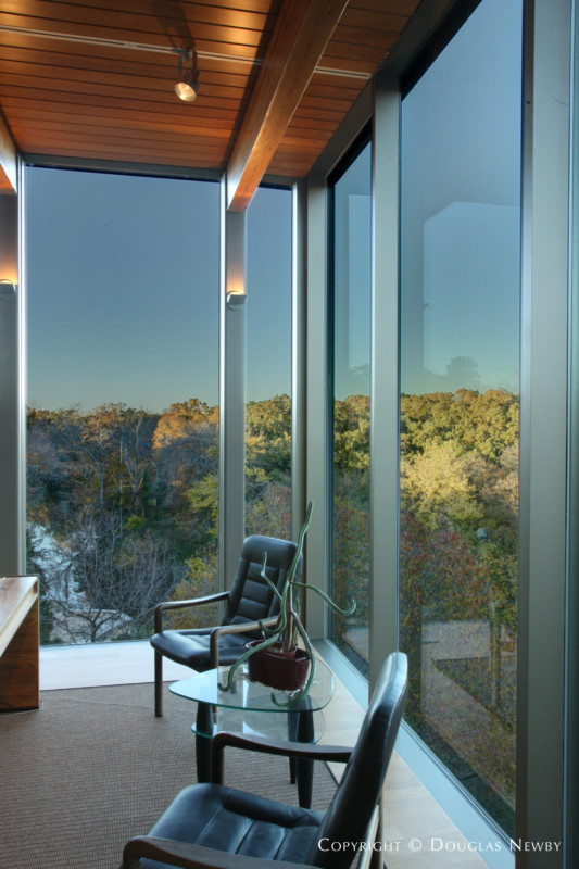 Office of Glen Abbey Modern Home Overlooking White Rock Creek and Nature Conservation Area