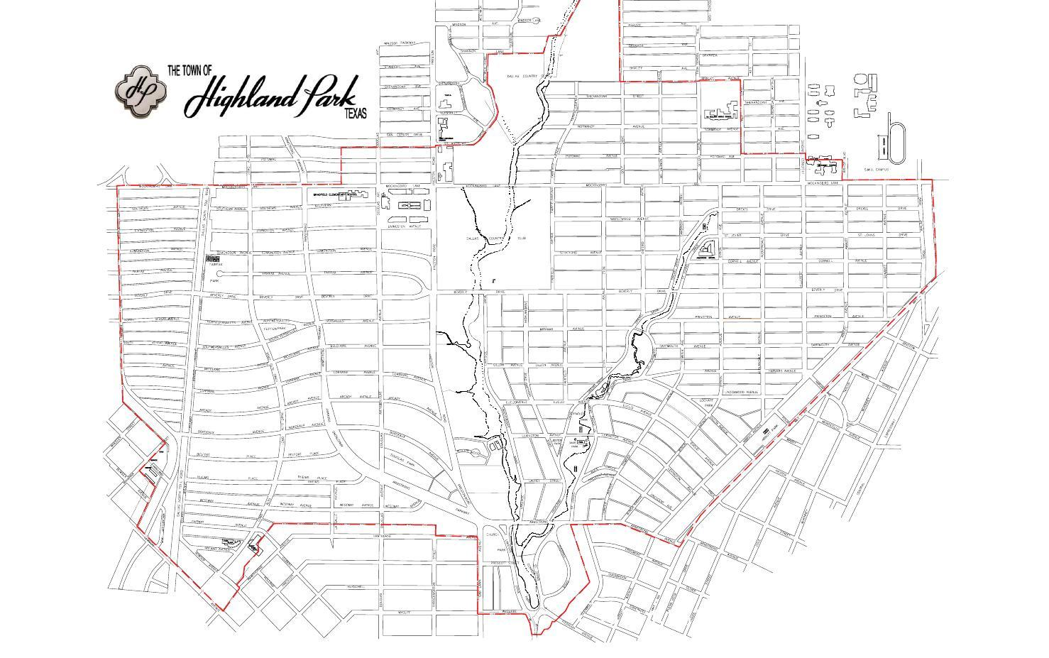 Map of highland Park Blocks