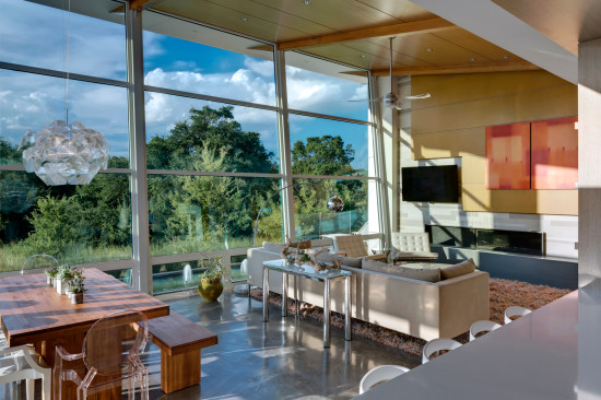 Large Windows in Living Room of Modern Home in Kessler Woods Reveal Natural Beauty of Site