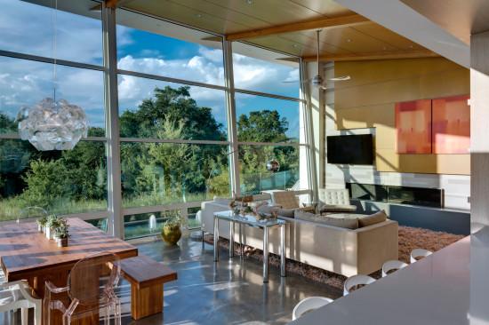 Large Windows in Living Room of Modern Home in Kessler Woods Reveal Natural Beauty of Site