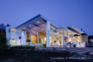 Front of Contemporary Home designed by Architect Mark Domiteaux, AIA in Twilight