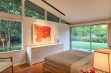 Master bedroom of midcentury modern home.