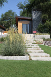 Stone Steps and Bicycle Rack at Contemporary Home