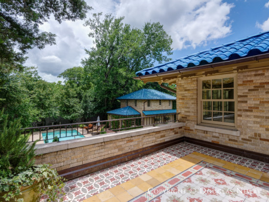 Master Bedroom Suite Terrace Overlooks Gardens and Pool in Lakewood